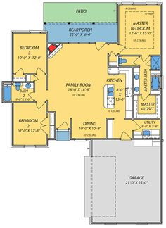 plan 83853jw small house with giant family room - Open Floor Plans