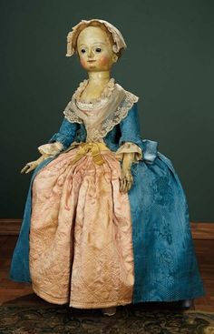 For the Love of the Ladies - October 1-2, 2016 in Phoenix, AZ: 6 Early 18th Century English Wooden Doll, Original Costume, 1739 Dated Coin Pocket