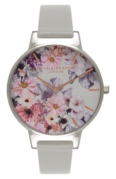 'Enchanted Garden' Leather Strap Watch, 38mm