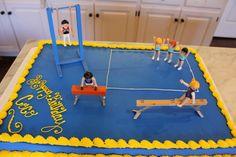 Gymnastics theme birthday cake.  Blue sheet cake + Playmobil figures.  Very Easy!