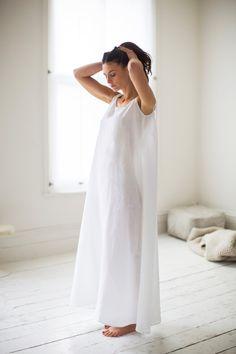 Linen Long Night Dress | White