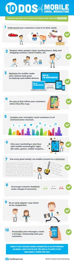10 Dos of Mobile Email Marketing [Infographic] E-mail Marketing, Email Marketing Campaign, Email Marketing Services, Mobile Marketing, Facebook Marketing, Marketing Digital, Business Marketing, Internet Marketing, Online Marketing
