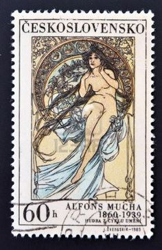Czechoslovakian stamp by Alphonse Mucha, issued ca.1969