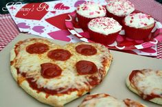 "Here's a ""heart-y"" and inexpensive family dinner: heart-shaped pizza and strawberry JELL-O cupcakes from #Walmart Mom Tina."
