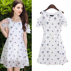 White Off The Shoulder Floral Chiffon Dress