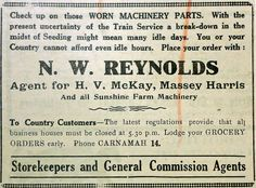 1942 advertisement for the general store and agency of N. W. Reynolds in Carnamah showing some of the impacts the war - unreliable trains and transport, and restrictions on opening times.