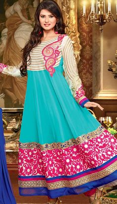 Buy Latest Indian Traditional Turquoise Georgette Anarkali Dresses at lowest Price with Different Design and Colors.  Link- http://alturl.com/dhcm4