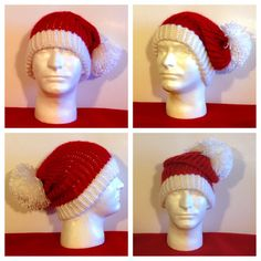 Adult Men or Women Santa huge pompom Christmas hat, Slouchy chunky Santa hat    Please choose womens or mens size when ordering.