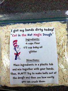 """""""The Cat in the Hat Magic Dough"""" we might have to add this to our day (aka moon sand. Good for Dr. Seuss day on March Dr. Seuss, Dr Seuss Week, Preschool Science, Preschool Classroom, Classroom Activities, Classroom Ideas, Preschool Ideas, Craft Ideas, Toddler Classroom"""