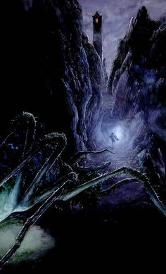 Alan Lee's Lord of the Rings Artwork / Shelob stalks Frodo in Cirith Ungol