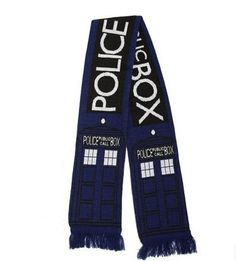 Dr Doctor Who Scarf Cosplay Fourth 4th 12'DELUXE Tom Baker Striped And Police Box Blue Scarf Hat Fashion Men Women Autumn Winter