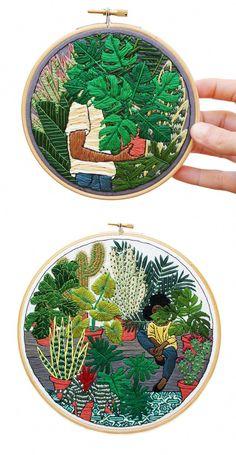 Contemporary embroidery hoop art Sarah K. Learn Embroidery, Hand Embroidery Stitches, Embroidery Patches, Silk Ribbon Embroidery, Embroidery Hoop Art, Hand Embroidery Designs, Embroidery Techniques, Cross Stitch Embroidery, Embroidery Sampler