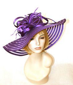 NEW Church Kentucky Derby Hat Royal Purple Wide Brim Dress Ascot on eBay!