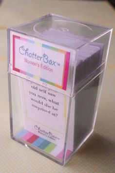 Looking for a great way to stimulate conversation at your next womens group meeting or ladies night out? ChatterBox is a great, portable game designed to