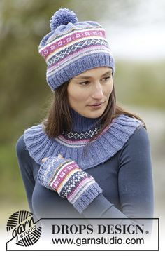 Moon Valley Set consisting of neckwarmer and wristwarers with Nordic pattern by DROPS Design Free #knitting pattern