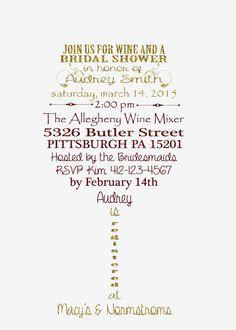 Wine Theme Bridal Shower Invitation Printable by NickOfTimeGifts