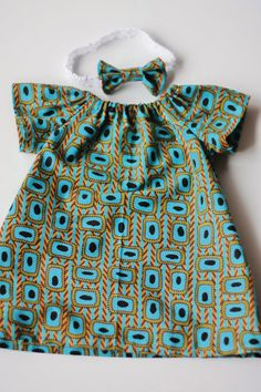 African clothing Girl's Dress & bow BABY/Girl by AdorablyAfrican Ankara Styles For Kids, African Dresses For Kids, African Children, African Inspired Fashion, African Print Fashion, Africa Fashion, African Prints, Baby Girl Dress Patterns, Little Girl Dresses