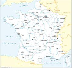 Fleuves principaux et préfectures, avec toponymes