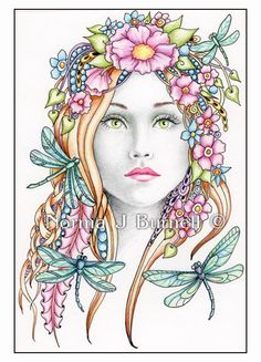 Midsummer & Dragonflies - Original Fairy-Tangles™ drawing by Norma J Burnell