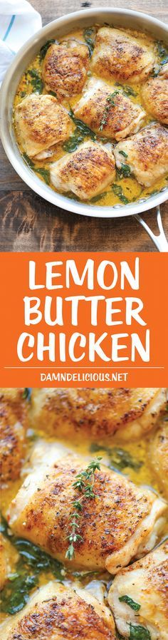 Lemon Butter Chicken - Easy crisp-tender chicken with the creamiest lemon butter sauce ever - you'll want to forget the chicken and drink the sauce instead! Damn Delicious is the best! Food Dishes, Main Dishes, Great Recipes, Dinner Recipes, Special Recipes, Amazing Recipes, Chicken Recipes For Dinner, Damn Delicious Recipes, Bone In Chicken Recipes