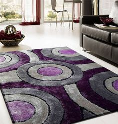 Grey And Purple Area Rug With Circles