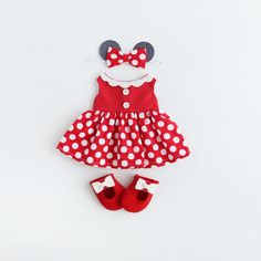 Custom made Minnie outfit 😍🐭🎀. Minnie Dress, Dress Up Dolls, Disney Style, Disney Inspired, Custom Made, Minnie Mouse, Christmas Ornaments, Disney Characters, Holiday Decor