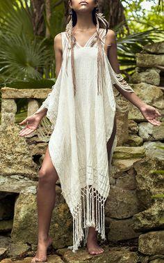 Scorpios Frayed Cold Shoulder Dress  by CARAVANA TULUM for Preorder on Moda Operandi