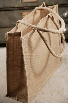 6 Large 15x13 Burlap Tote Bags Welcome