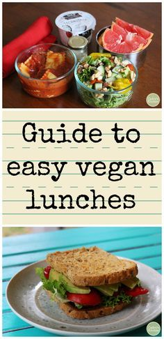 Guide to easy vegan lunches Vegan meals don't have to be hard! Check out this guide to easy vegan lunches. Easy Vegan Lunch, Vegan Lunch Recipes, Healthy Vegan Snacks, Vegan Lunches, Lunch Snacks, Vegan Foods, Vegan Dishes, Healthy Recipes, Vegetarian Lunch