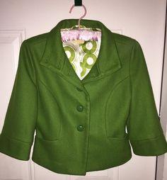 Tulle Anthropologie Green Short Jacket Lined Viscose Wool Blend M #Tulle #BasicJacket