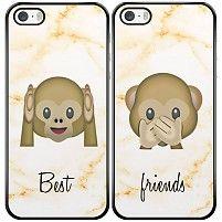 Emoji aapjes best friends hoesjes (2-delig)