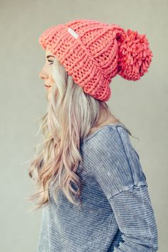 Chunky Knit Pom Beanie by Three Bird Nest | Bohemian Clothing