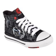 Overstock.com: Online Shopping Bedding Furniture Electronics Jewelry Clothing & more - Star Wars Shoes - Ideas of Star Wars Shoes #starwars #shoes #starwarsshoes - Childrens Skechers Star Wars Cayden Sith Lord High Top /White Kids Sneakers, High Top Sneakers, Canvas Sneakers, Shoes Sneakers, Star Wars Shoes, Star Wars Kids, White Casual Shoes, Black High Tops, Top Shoes