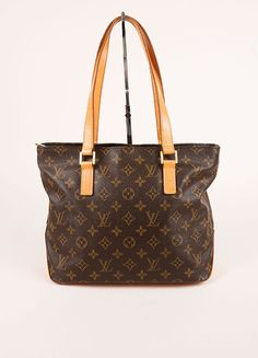 "Brown Monogram Coated Canvas and Leather ""Cabas Piano PM"" Tote Bag"