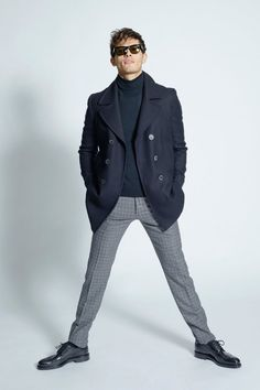 Swing into something stylish yet trendy in a navy pea coat and grey check wool dress pants. A pair of black leather brogues can integrate effortlessly within a variety of looks. Leather Brogues, Leather Jacket, Oxfords, Loafers, Caban Bleu Marine, Navy Pea Coat, Charcoal Dress, Winter Outfits Men, Black Pants