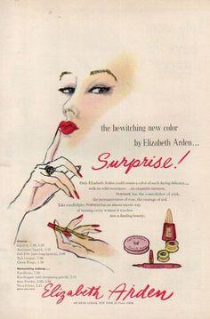 1950 Elizabeth Arden Surprise! Cosmetics 50s Makeup Lipstick Nail Polish Ad