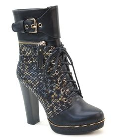 Black Snake-Embossed Buckle-Accent Boot