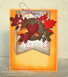 Stitched Party Banners, Stitched Leaves (both Lawn Fawn) -- Lawnscaping Challenge #93: Fall/Pumpkins | shurkus.com