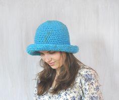 Turquoise Hat, Women's Brimmed Hat, Yarn Crochet Hat, Floppy Hat, Woman's Fedora Hat, Flatter Hat, Autumn Winter Hat, Cap, OOAK - pinned by pin4etsy.com