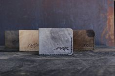 Hand Stitched Bi-fold Leather Mountain Wallet