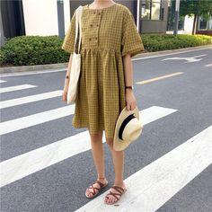 夏装新款韩国chic复古显瘦甜美复古格子连衣裙娃娃裙A字裙短裙女