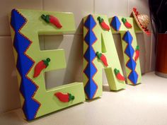 """Mexican Kitchen Word """"EAT"""" with Sombrero and Chili Peppers Kitchen Decor- Maybe DIY but """"COMER""""?"""