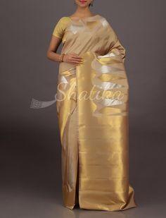 Jaishree Silver And Gold Spiking Border Wedding #DharmavaramSilksaree