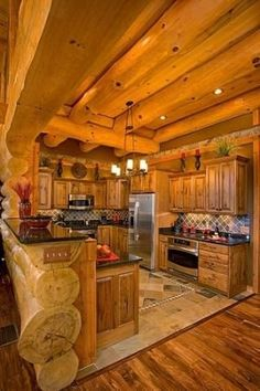 Sweet rustic cabin kitchen! Just the right size!