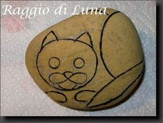 Transformation of a rock to painted cat
