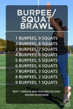 The burpee/squat brawl workout is simple, quick, and quite the butt kicker! This workout is great to do from home or while traveling as it requires NO equipment! Fitness Workouts, Wod Workout, Easy Workouts, No Equipment Workout, At Home Workouts, Fitness Tips, Health Fitness, Workout Plans, Yoga Workouts