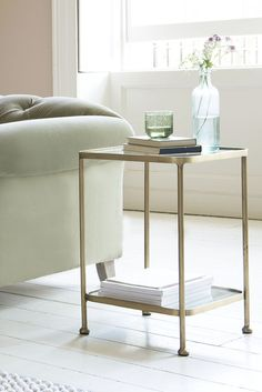 This side table is rocking vintage-y brass, glass and mirror. Pretty dapper we think. Brass Side Table, Side Tables, Farmhouse Renovation, Cool Coffee Tables, Weathered Oak, Home Accessories, New Homes, Lounge, Velvet Sofa