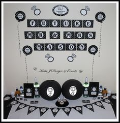 Mega Party Pack #Silver #Grey #Gray #Glitter #Black #Hearts #Engagement #Party #Colour #Schemes #Bunting #Party #Decorations #Ideas #Banners #Cupcakes #WallDisplay #PopTop #JuiceLabels #PartyBags #Invites #KatieJDesignAndEvents #Personalised #Creative