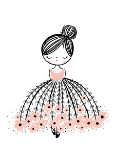 Flower Dress Dreamer Is A Stunning Illustrated Art Print For Girls, With A Pop Of Pink.