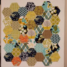 from the blue chair: A new pillow for our bed--An AccuQuilt Go! Baby tutorial  Machine hexagons